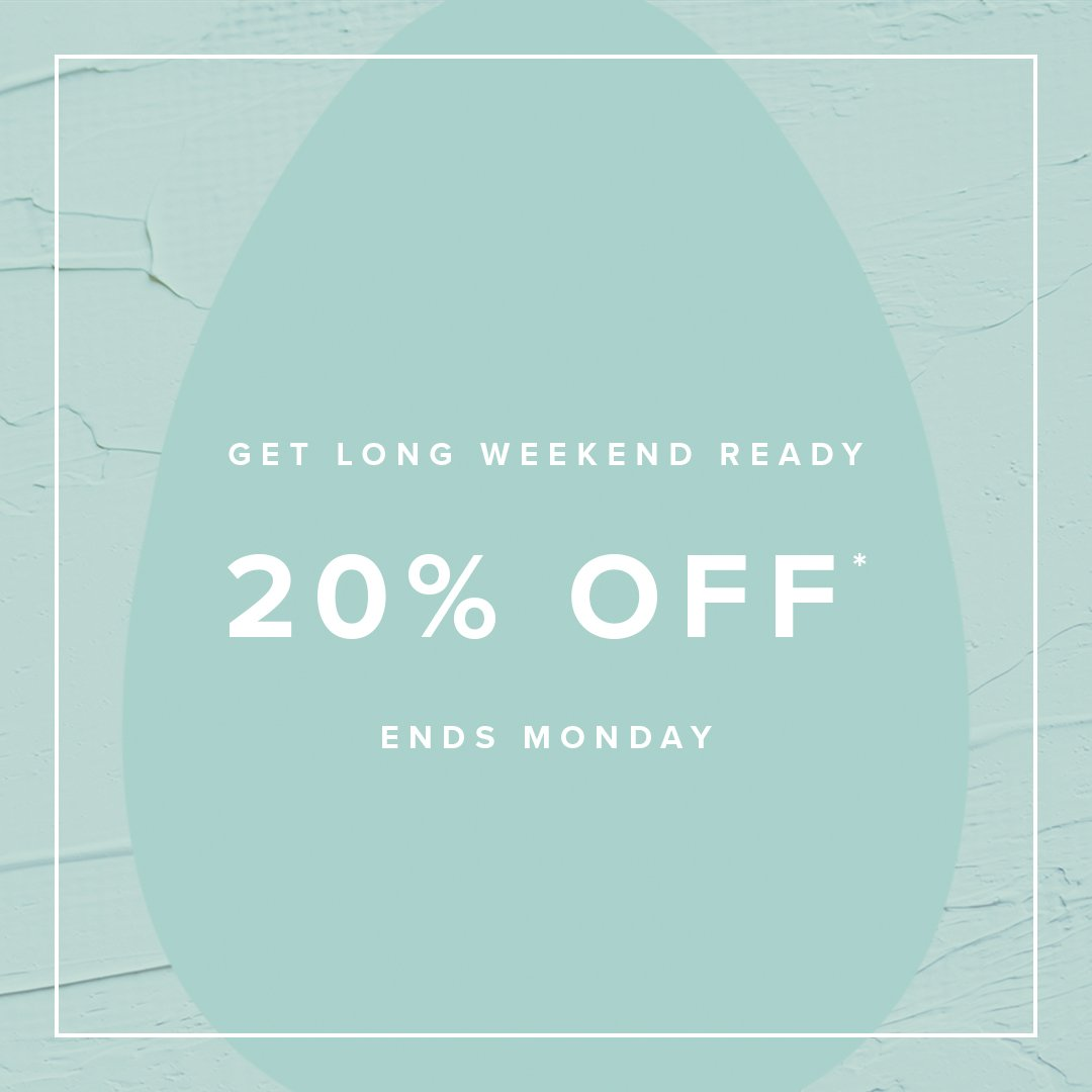 20% OFF* SELECTED STYLES. 🙌🏼 Whether you're jetting off or staying in, we've got your long weekend looks sorted. Use code SAVE20.  Shop here > https://t.co/RUKVuESvLG  *Ends 11:59PM AEST on 04.15.19. Selected styles and colours listed. Subject to terms and conditions https://t.co/Od3omslngk