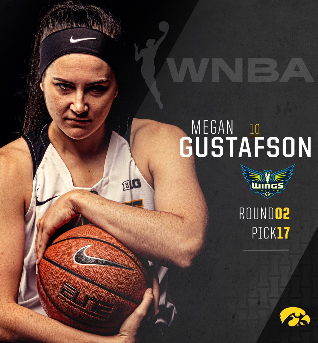 With the 17th overall pick in the @WNBA Draft the @DallasWings select @GustafsonMeg10!! #Hawkeyes #FightForIowa