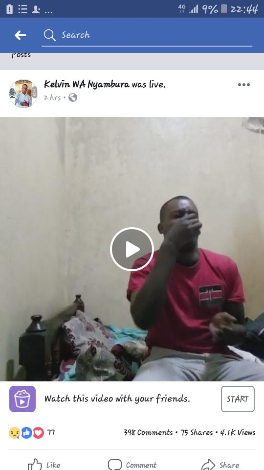 Kenyan Man Suffering From Depression Makes A Live Video On Facebook Taking Poison