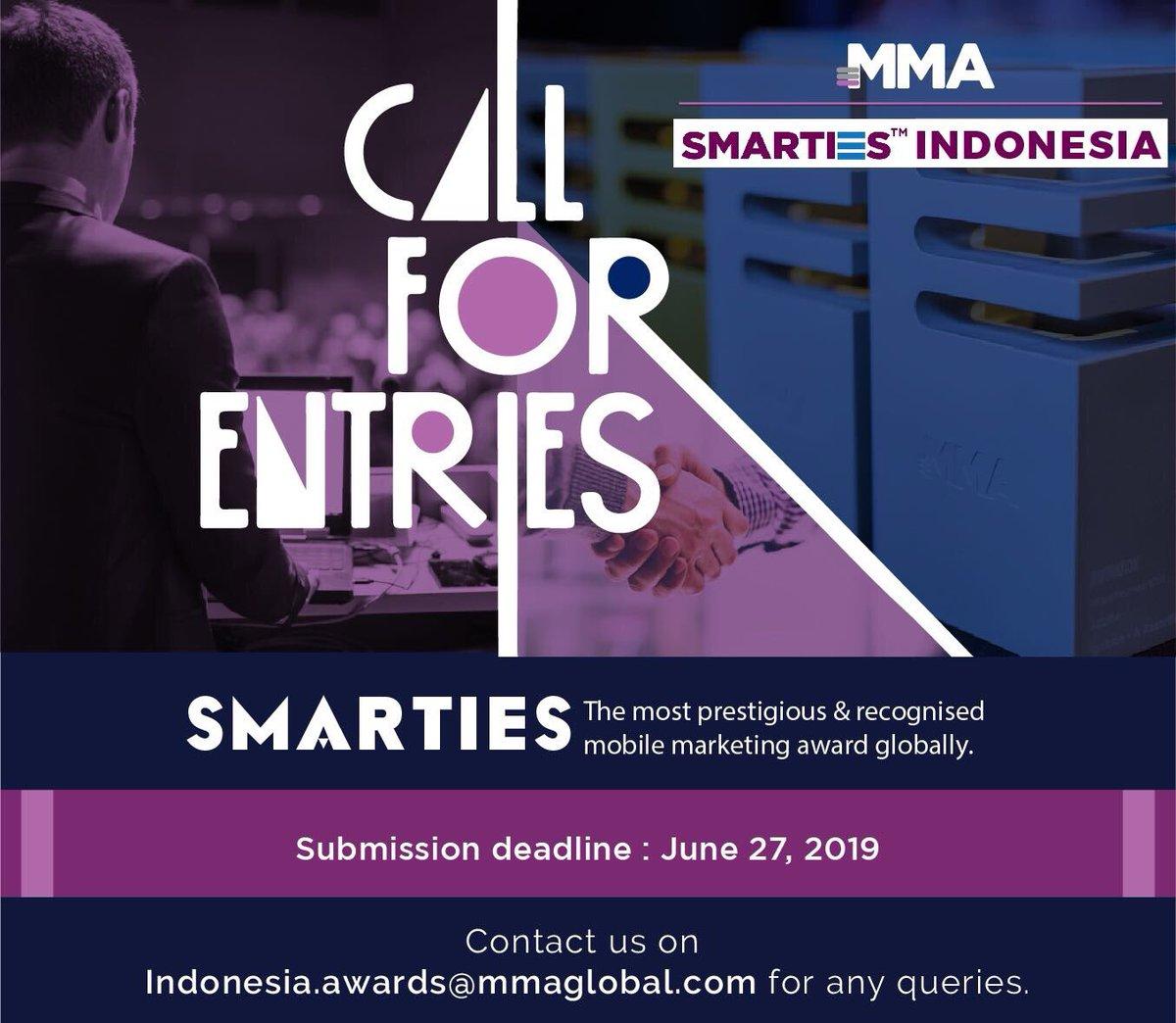 CALL FOR SMARTIES - MMA INDONESIA  Submission Deadline : 27/June 2019  #mmaindonesia #smartiesawards @MMA_APAC @MMAglobalpic.twitter.com/NIzTHviMWn