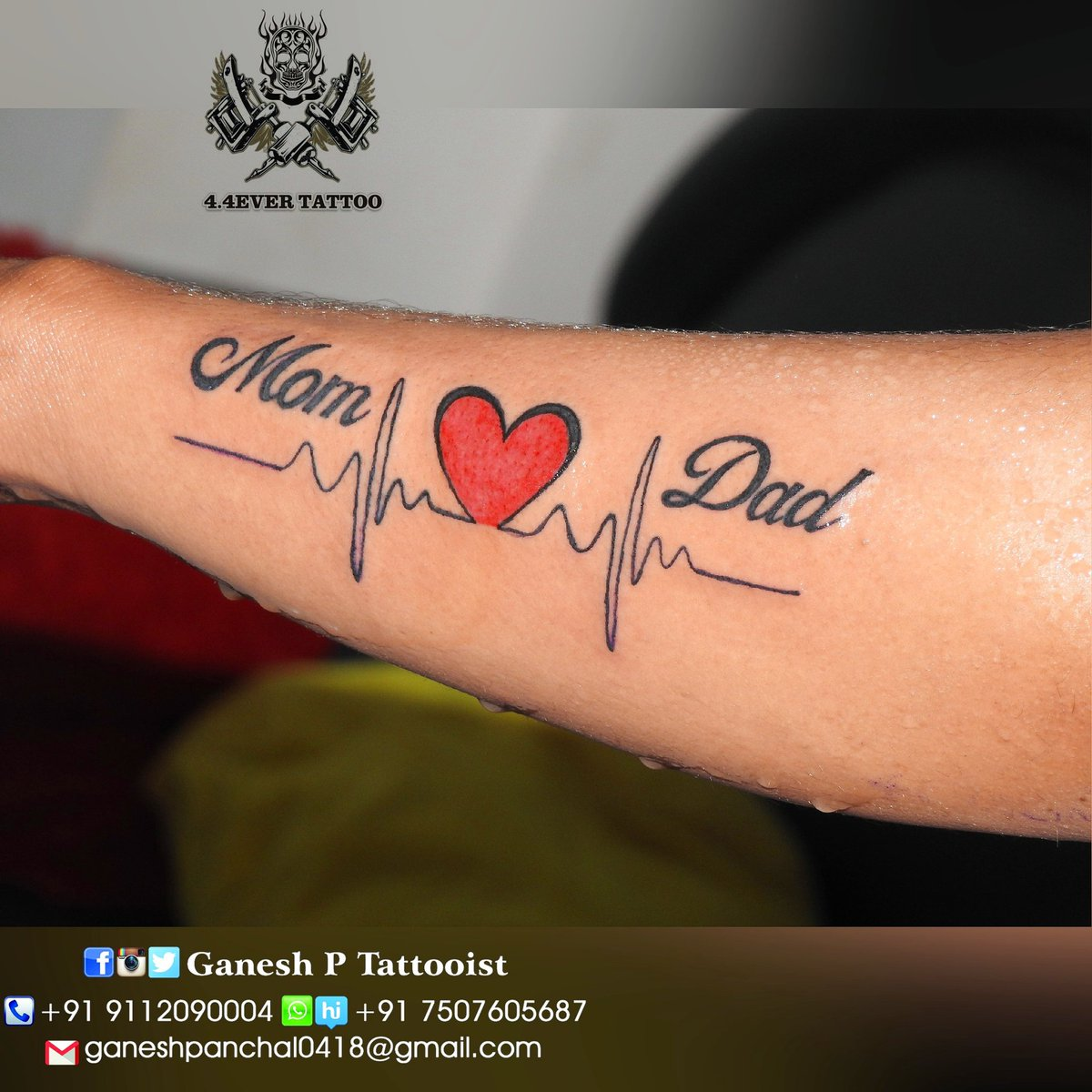 Mom Dad Heartbeat Tattoo Best Tattoo Ideas