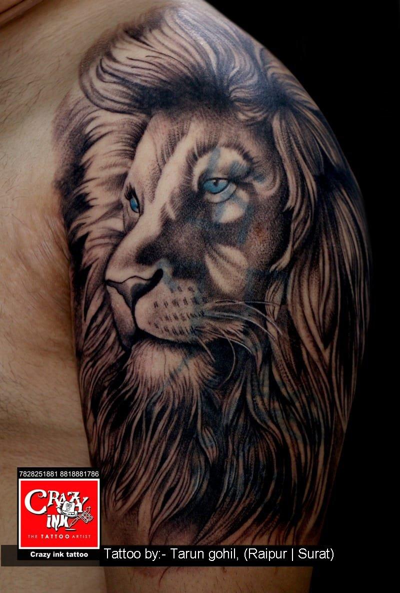 a6a3e9ef9 Lion portrait tattoo. Tattoo done by tattoo artist Tarun gohil. At crazy  ink tattoo