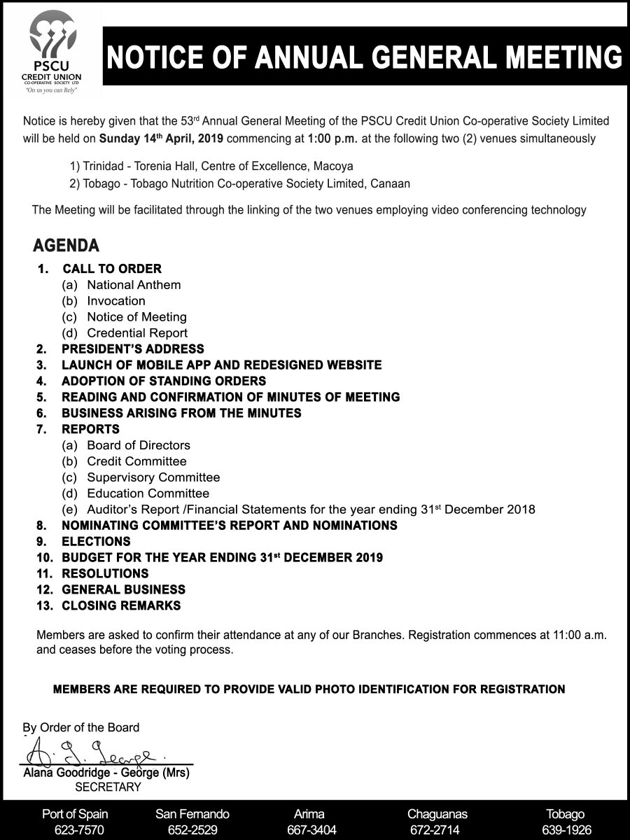 NOTICE: Please be advised that #PSCU is hosting its Annual General Meeting on Sunday, April 14, 2019.  View notice for more details. #OnUsYouCanRely