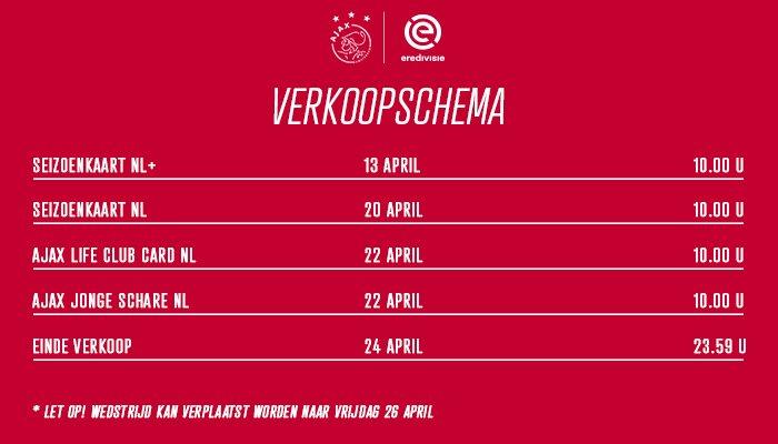 Verkoopschema van @DeGraafschap - #Ajax is bekend!  🚍 Verplichte buscombi 🎟️ 550 kaarten beschikbaar ‼️ Wedstrijd kan eventueel verplaatst worden naar 26 april  Check hieronder wanneer jij aan de beurt bent ↩️