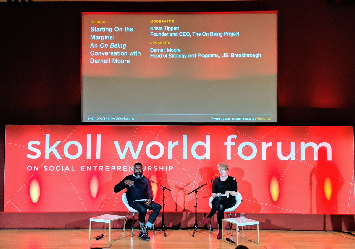 Putting people in the centre of community engagement so they can be architects of their own future - #socialentrepreneurs need to remember this before they helicopter in solutions for those communities @Moore_Darnell in conversation with @kristatippett @SkollFoundation #SKOLLWF