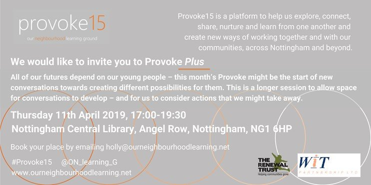 Join our conversations at #provoke15 about the health and wellbeing of our young people 5.00 at Nottingham Central Library