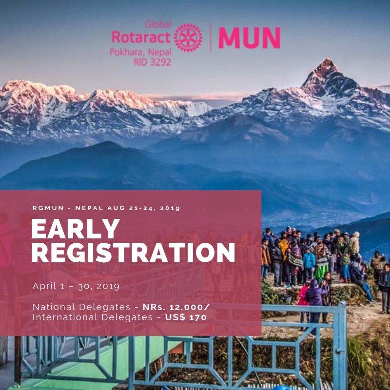 The deadline for Early Registration is 30th April, 2019. REGISTER SOON!!! For more details please visit http://nepal2019.rotaractmun.org  #RGMUN #Pokhara #rotaract #rotaractnepal #MUN #rotaractdistrict3292
