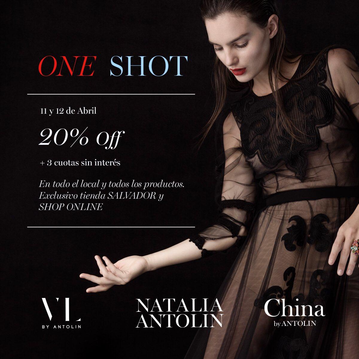 ONE SHOT ✨ El jueves 11 y viernes 12 de abril disfrutá de un 20% OFF y hasta 3 cuotas sin interés en todas nuestras colecciones en Shop Online y nuestra tienda exclusiva de Palermo. https://t.co/NIw8NCflyR