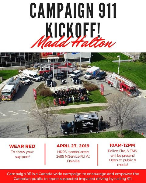 Less than 2 weeks away! Who's getting excited?1 🙋♀️🙋♂️ Event is open to the public & media! Please see event flyer for details! #campaign911 #stopimpaireddriving #haltonregion