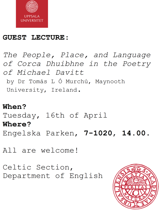We are looking forward to welcoming Dr Tomás L Ó Murchú of @MaynoothUni to @UU_University this Tuesday for a talk on phenomenal Cork poet Michael Davitt and his connection to the Corca Dhuibhne Gaeltacht. All are welcome.