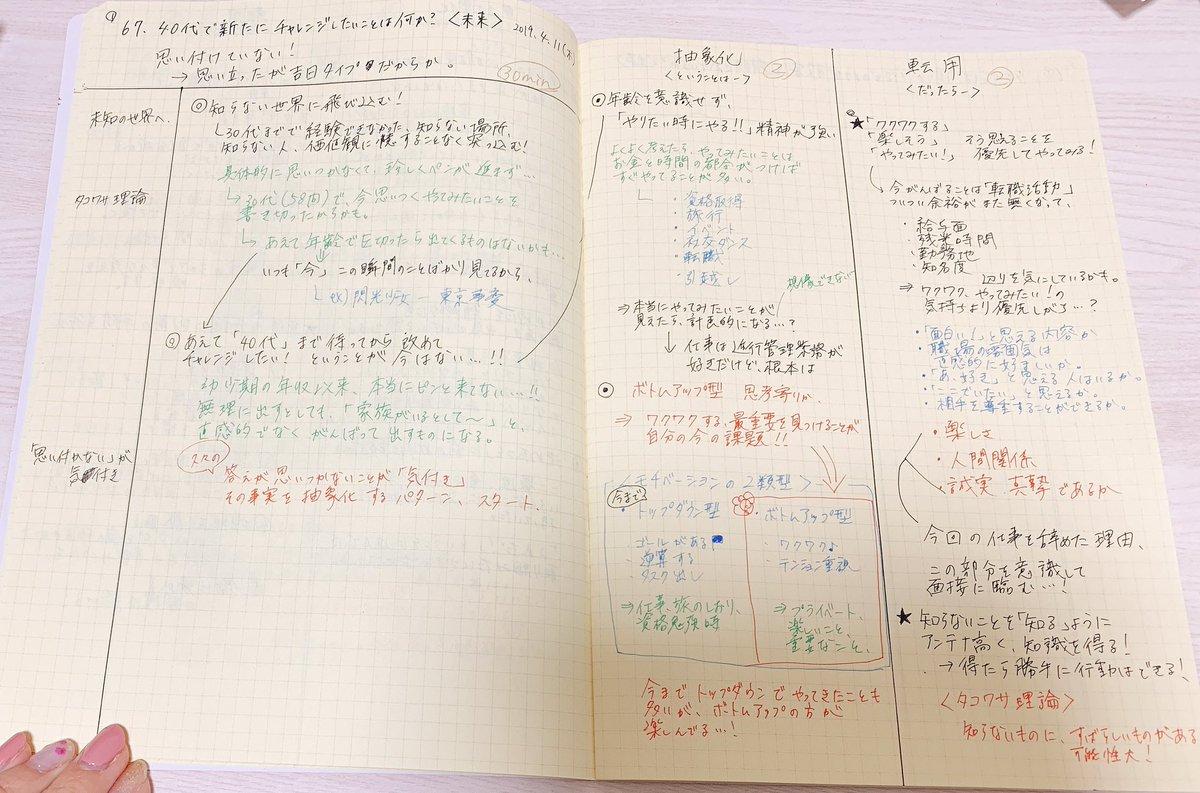 自己分析67問目、40代でチャレンジしたいこと。#東京メモ魔会 で書き始めようとしたらペンが進まず、久々の思い付かないことが気付きパターン。ボトムアップ型を意識し、転職活動に生かす流れに繋がった。あと大好きタコワサ理論をプラス。#前田裕二 @UGMD#メモの魔力#1000問ノック#メモ魔道