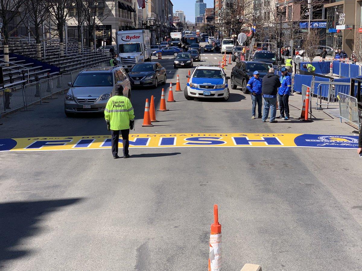 Finish line has been installed on Boylston Street!