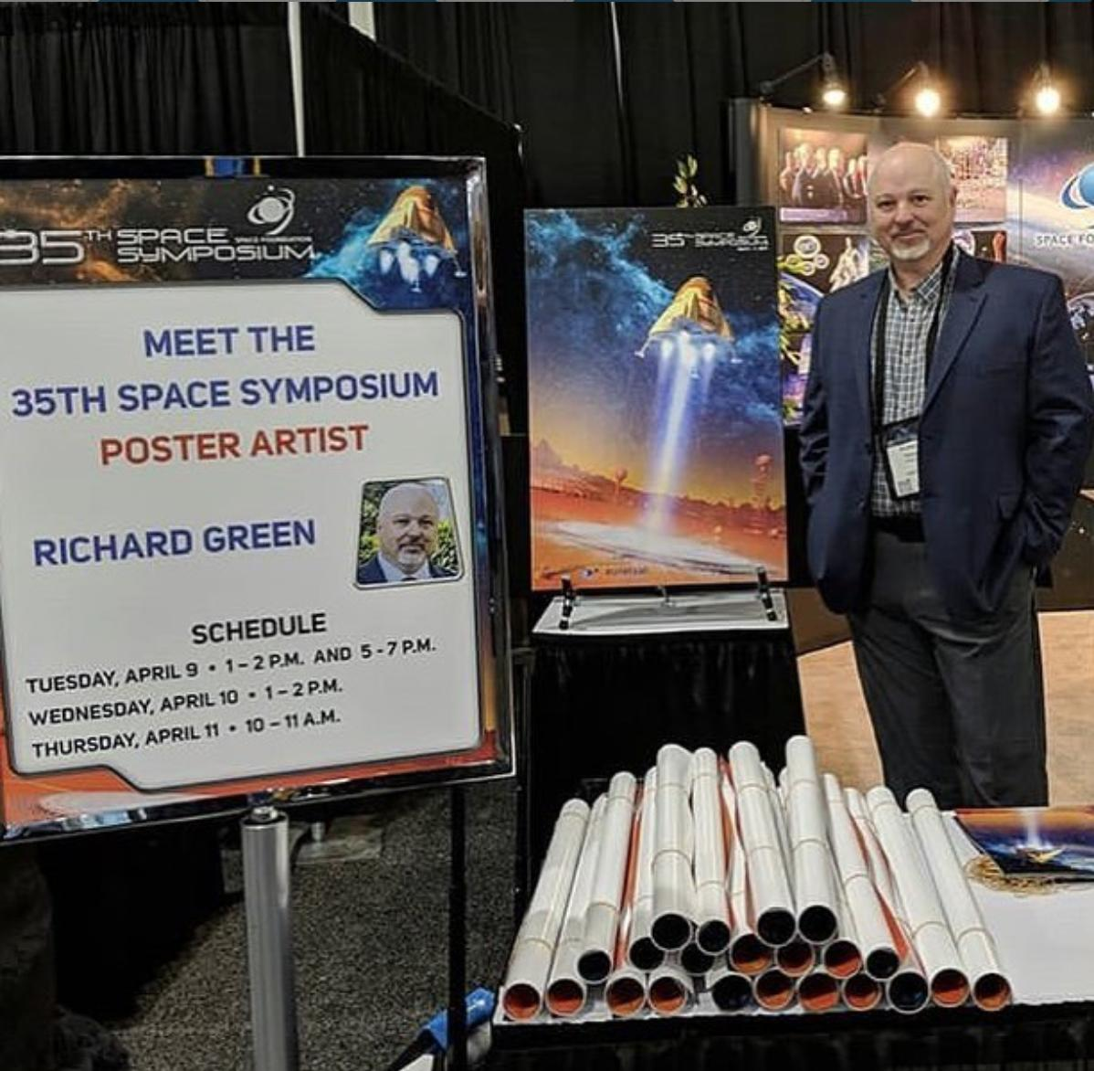 Meet the #SpaceSymposium poster artist now at the Space Foundation booth in the pavilion! #35Space