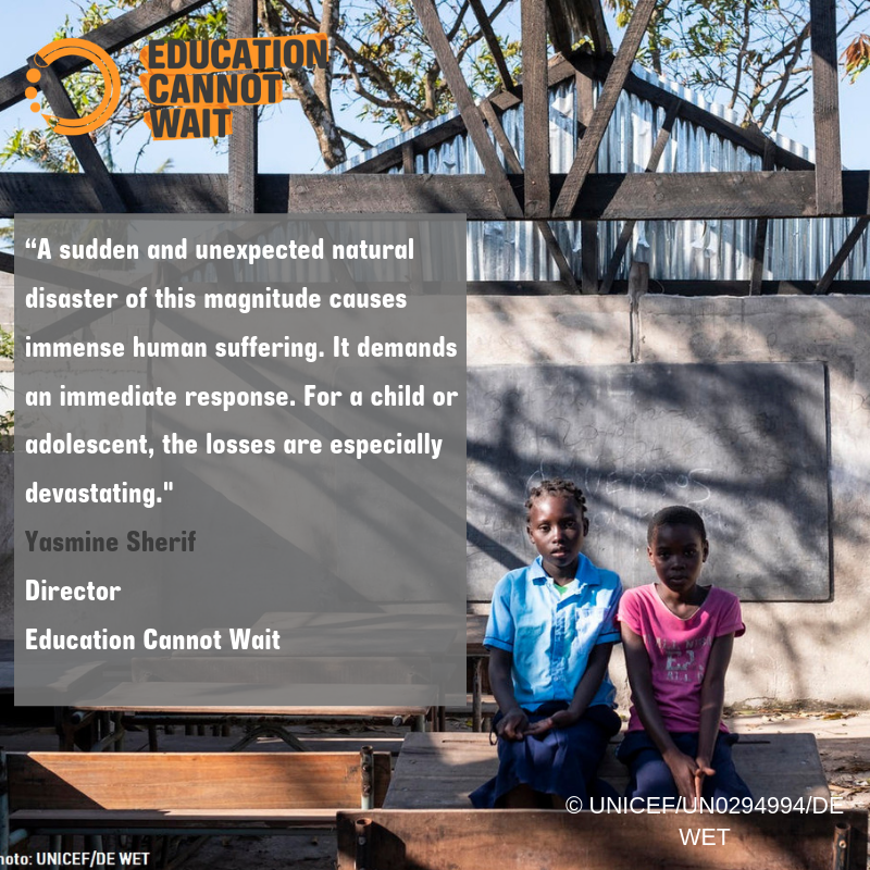 #CycloneIdaiUpdate!  @DFID_Education @DubaiCares @EduCannotWait come together to deliver emergency education responses to more than 500,000 children affected by Cyclone Idai in #Malawi, #Mozambique & #Zimbabwe. Learn more http://www.educationcannotwait.org/cyclone-idai/