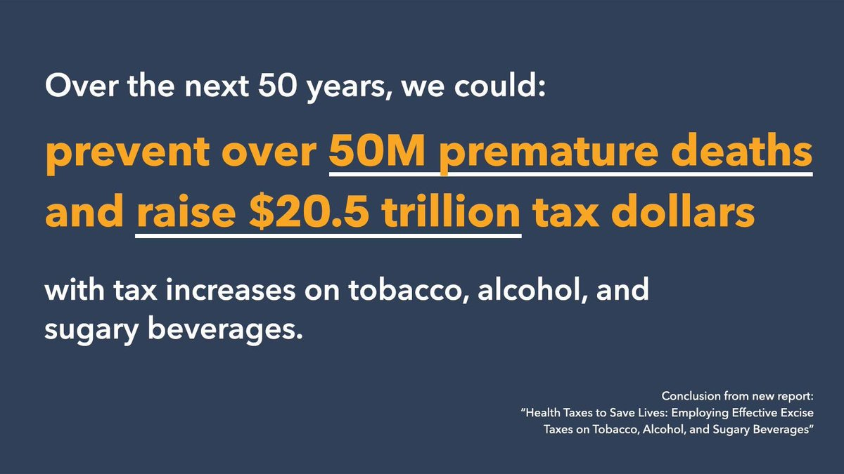 Raising taxes on tobacco, alcohol & sugary drinks can save lives, prevent disease and generate significant tax revenues for health. Grateful for new report by the Task Force on Fiscal Policy for Health, co-chaired by @WHO Global Ambassador @MikeBloomberg https://bloombg.org/2UuyAaN