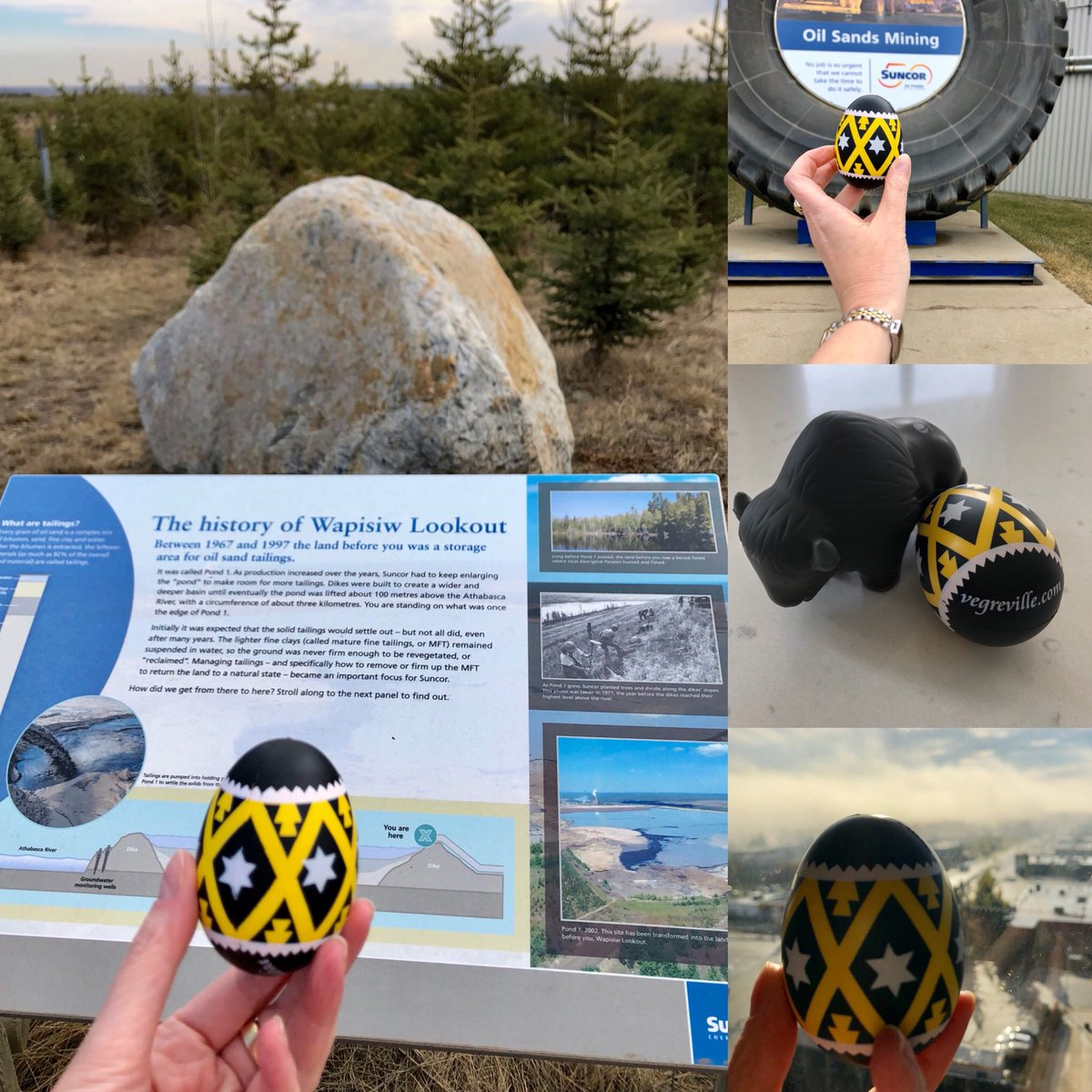 Wrapping up a great visit to @RMWoodBuffalo for #SenCA hearings on C-69 & @Suncor tour. This isn't @Paulatics pysanka, but I borrowed my cousin's to add to #PaulasPysankaTour pics! Thx again to #RMWB and Suncor ☺️
