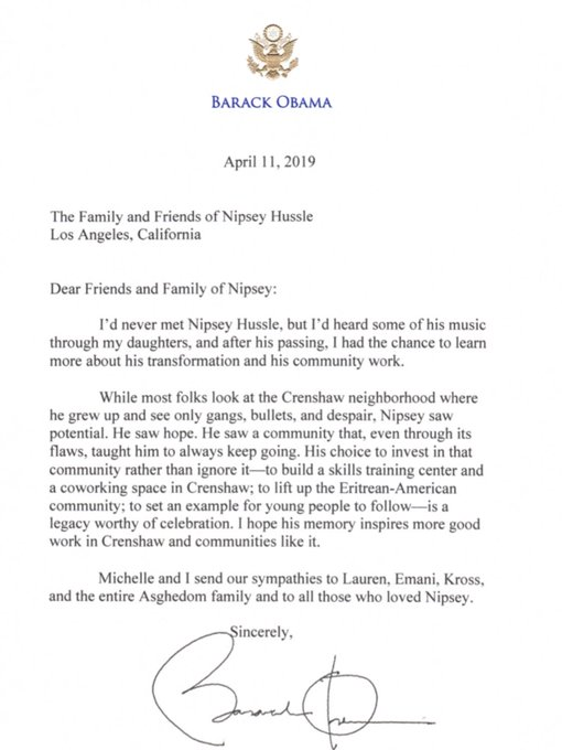 Barack Obama Sends Heartfelt Letter to Nipsey Hussle's
