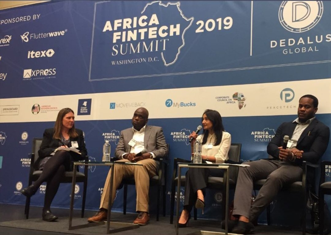 Heavy weights in the fintech space on a panel at #AfricanFintechSummit2019 discussing democratization of finance. #africafintechdc #Fintech. @Xpresspayments MD/CEO, Oluwadare Owolabi is also a panelist.
