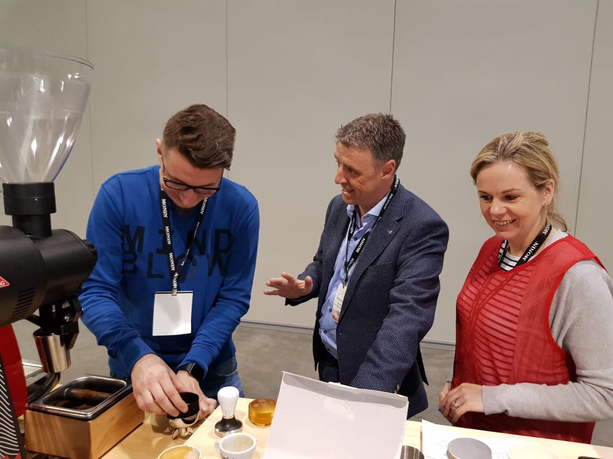 Getting some last minute support and advice from Bewley's MD Jason Doyle & head of beverage development Maria Cassidy #CoffeeExpo2019 #BostonWCC
