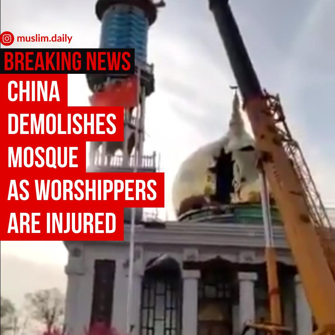 Chinese authorities demolish Zheqiao Village Mosque as many worshippers are injured. Remind yourself that upto 3 million Uyghur Muslims are also in Concentraion camps and their children taken away and indoctrinated. The world continues to remain silent.