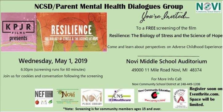 free movie screening: resilience May 1 at 6:30