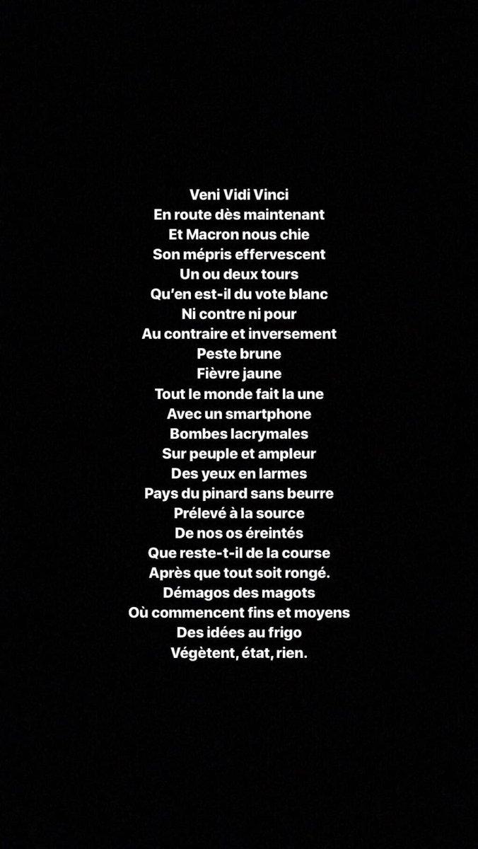 Prochain texte de chanson. Why not? @AQuatennens @JLMelenchon @ManonAubryFr @Francois_Ruffin @anatolium @JeanHugon3 #Macronie #MacronLeaks #MacronCompliceDuPire #castanerdemission #castanerchampion #ViolencesPolicieres #GiletsJaunes #Monsanto #6eRepublique #AeroportsDeParis #LREM<br>http://pic.twitter.com/Kl3aWDyUco