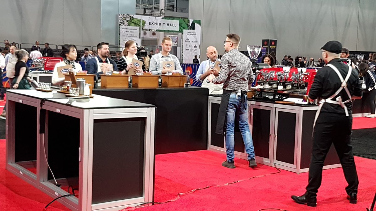 Onto the final part of his routine, 4 signature drinks! #BostonWCC #CoffeeExpo2019 #bewleys