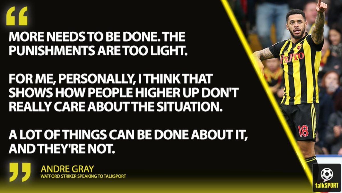 "🗣 ""More needs to be done.""  @WatfordFC striker @AndreGray7 on @T_Deeney receiving racist abuse 👊  Great to have him on @talkSPORTDrive"