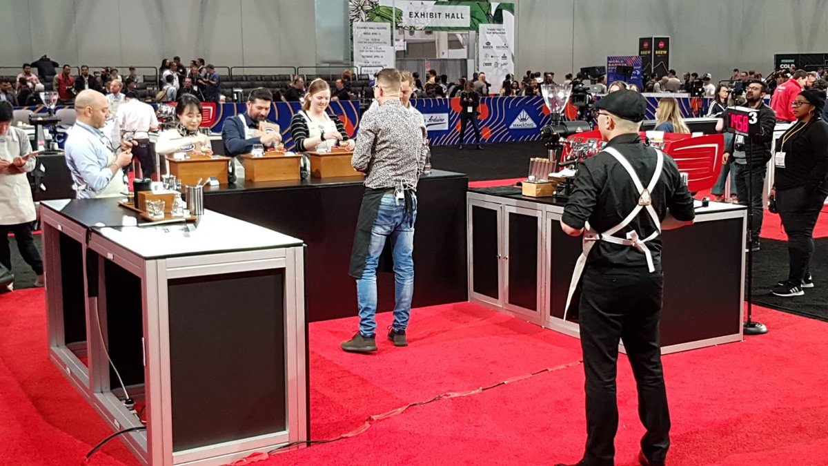 And he's done it! Wojciech successfully completed his routine! @SCA_Ireland @WCoffeeEvents #BostonWCC #CoffeeExpo2019