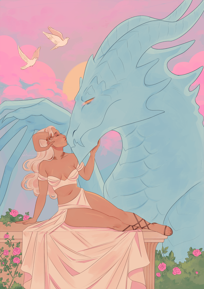 I love dragons... I love women... so I made a print of a demon and her dragon wife 😔💕