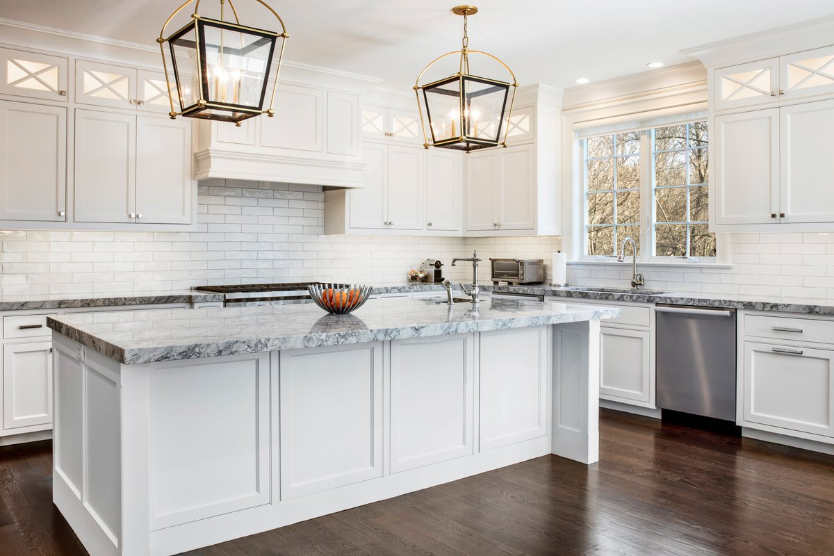 Artistic Tile On Twitter Designer And Architectural Rep Michal Abehsera Paired A Glossy White B Train Subway Tile Backsplash With Superwhite Polished Marble Countertops To Add Subtle Variety To This Classic White Kitchen