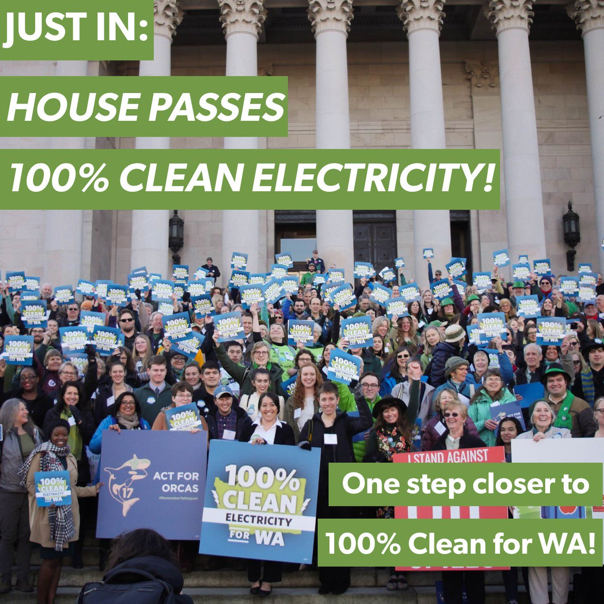 BREAKING: #100PercentClean just passed the #WALeg House! Together we are making strides toward reducing climate pollution and building a foundation for frontline communities to be a part of the transition to clean electricity — one that all households can afford!