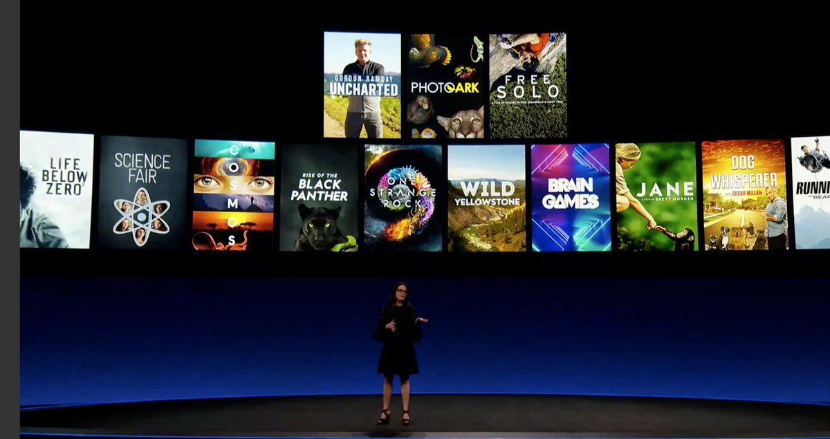 24. Courteney Monroe of #NatGeo takes the stage now. This is cool because Disney&#39;s purchase of Fox allowed this channel to come to life.  250 hours of National Geographic will be available on day one! These are Emmy and Oscar winning films and series #DisneyPlus<br>http://pic.twitter.com/wDJdFlXqB1