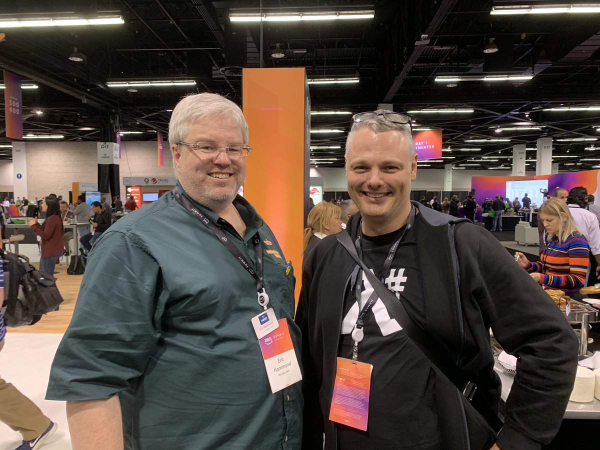Good times at #AWSSummit with @esh. Great meeting you IRL!