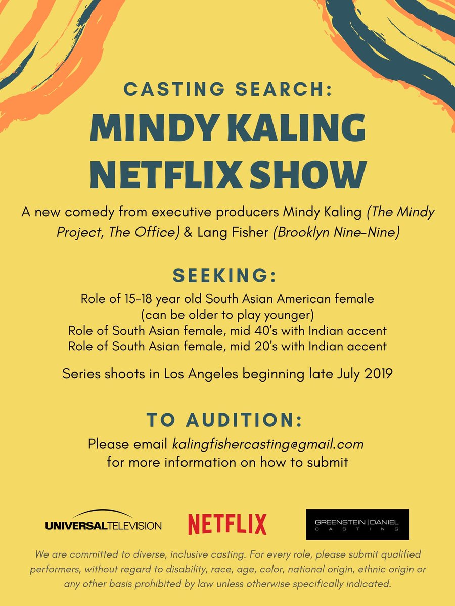 ATTENTION DESI LADIES! I'm holding OPEN casting calls for leads in my new @netflix show! I'm THRILLED to have the opportunity to do this. The parts are so juicy and funny, and I'm SO excited to meet you! Full info is here! GOOD LUCK!