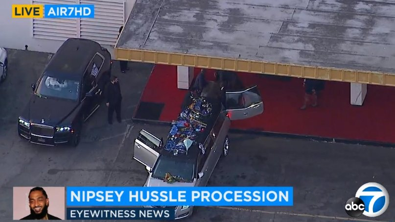 #LIVE: Nipsey Hussle casket is being taken into Angelus Funeral Home  #RIPNipsey #RIPNIP #RIPNipseyHussle http://abc7.la/2VA3haS