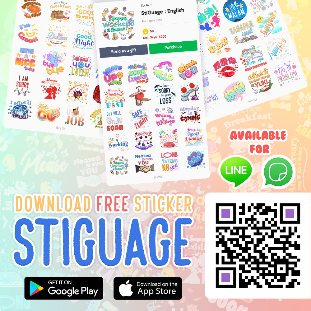 Download colorful chat stickers! available for WhatsApp and