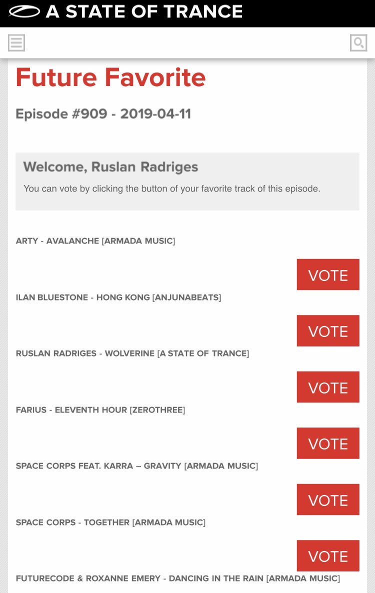 a state of trance top 100 vote