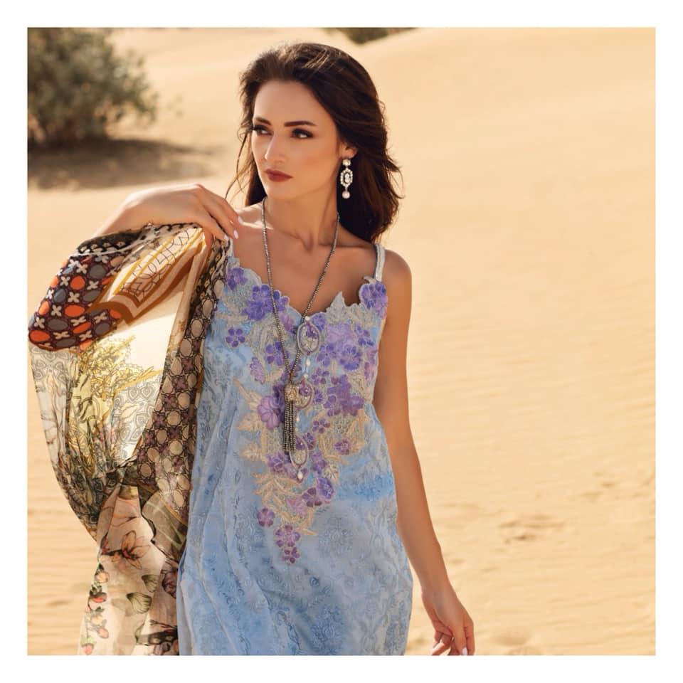316f8507c8 Get this light blue embroidered Premium Lawn shirt with printed CHIFFON  dupatta in your wardrobe this
