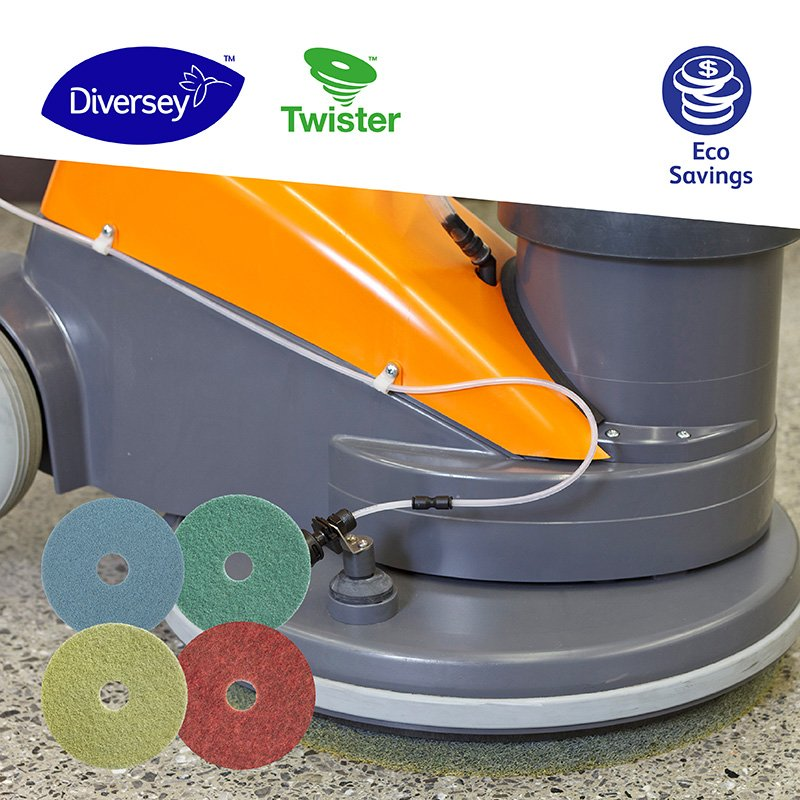 Did you know that you could get shiny floors from a 1.5L PET bottle? #Twister by #Diversey pads are made of #100%recycledPET embedded with billions of microscopic diamonds. They also remove the need of cleaning chemicals and last longer than other pads. http://ow.ly/EaoP50p5yOM