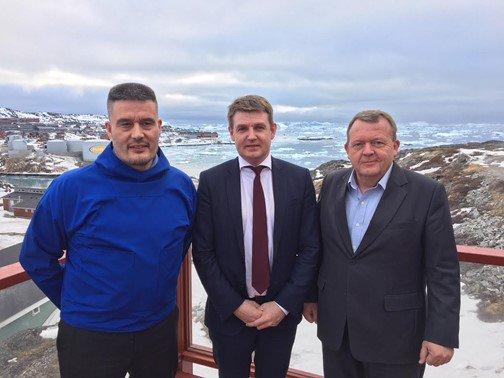 Constructive and fruitful meetings between PM Aksel V. Johannesen, @larsloekke and Kim Kielsen in Ilulissat in #Greenland. #Faroeislands