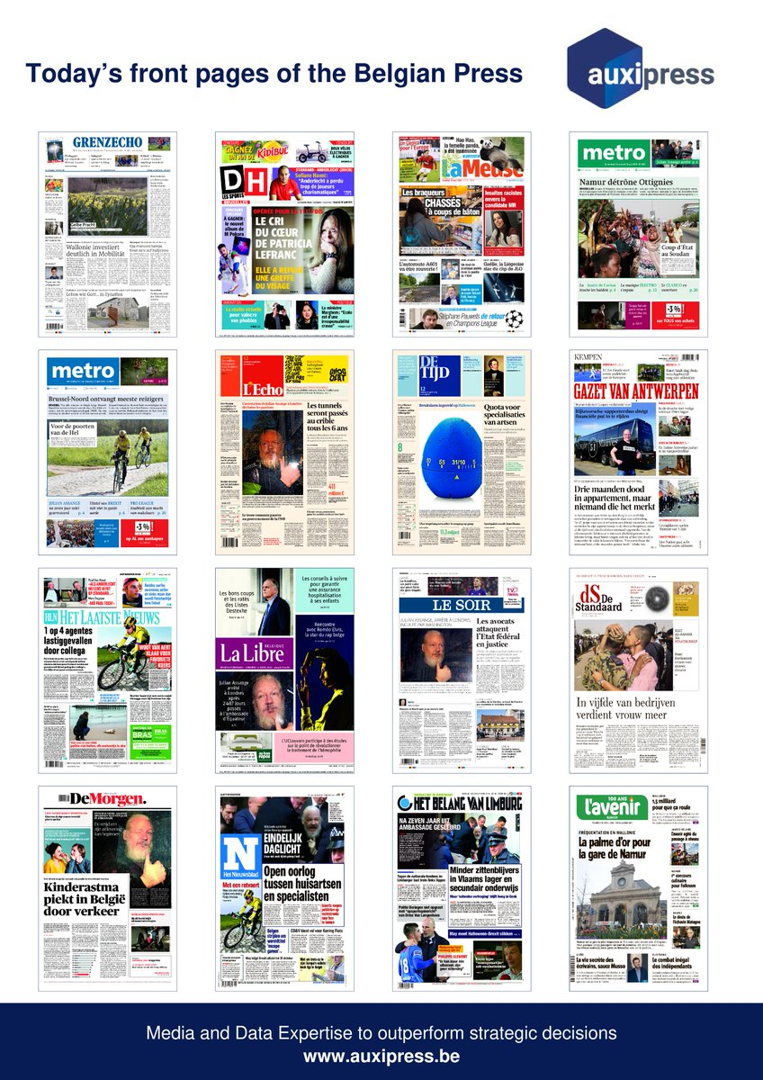#Newsoftheday 📰💡📝- Discover today's front pages of the #BelgianPress ! #Kidibul #PatriciaLefranc #MPokora #Ecolo #Groen #RealitéVirtuel #VR #VirtualReality #Standard #RSCL #Aldi #ChampionsLeague #JulianAssangeArrested #Classico #Soudan #Brexit