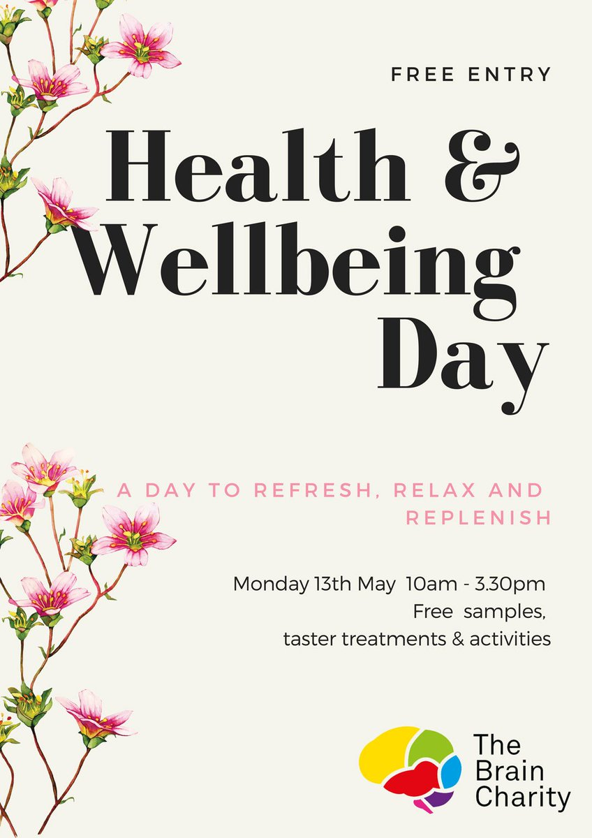 Treat yourself! Following the success of last year @TheBrainCharity will be hosting its free Health & Wellbeing Day again in May. Full details on our website ow.ly/MkRj30ooGoB #4charity #ff