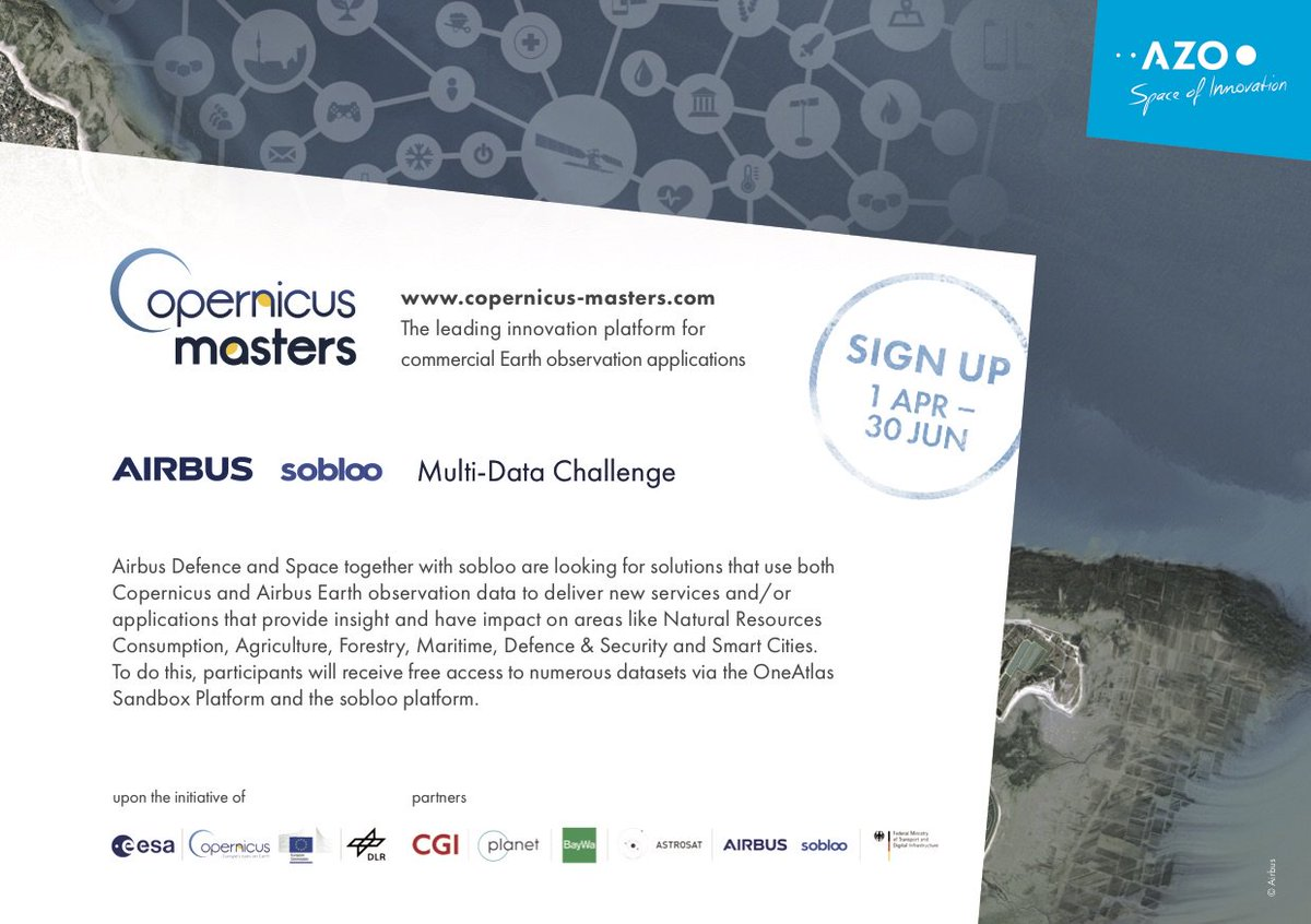 Airbus is partner of the #CopernicusMasters again this year. 👉 Check out the Airbus Sobloo Multi-Data Challenge and submit your innovation in #EarthObservation 🌍 until 30 June. There are great prizes to win! 🏆 https://www.copernicus-masters.com/prize/airbus-sobloo-challenge/…