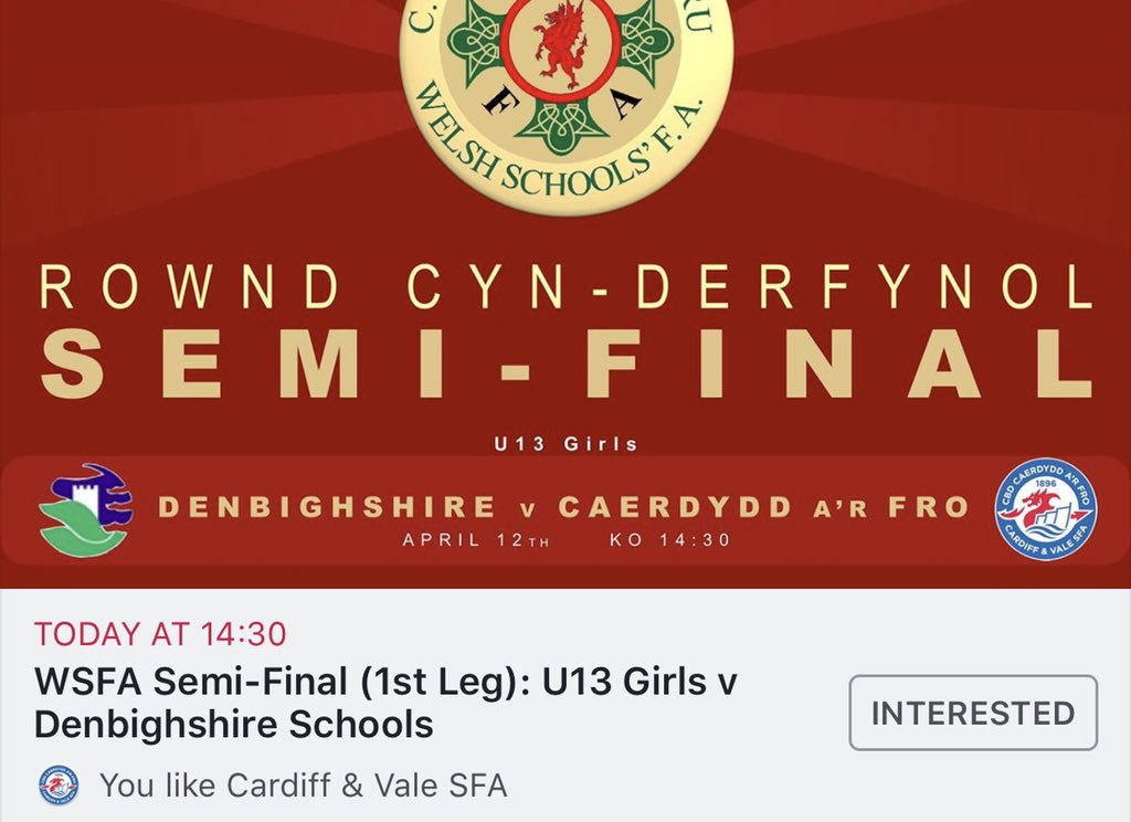 Good luck to our U13 Girls squad today as they travel to take on @DenbighshireSF1 in the @WSFA_InterAssoc Semi-Final (1st Leg). Following a very strong finish to their group campaign, the team will be hoping to carry on that momentum into the @WelshSchoolsFA knockout stage. 🔵