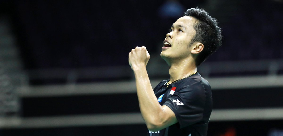 Anthony Sinisuka Ginting usai mengalahkan pebulutangkis China, Chen Long pada babak perempat final Singapore Open 2019, Jumat (12/4/2019).
