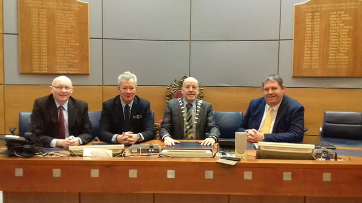 "Leitrim County Council on Twitter: ""#Leitrim County Council recently  welcomed the Hungarian Ambassador to Ireland, Mr. Istaván Pálffy to the  county. Our photo shows Mr. Pálffy meeting with the Cathaoirleach Sean  McGowan,"
