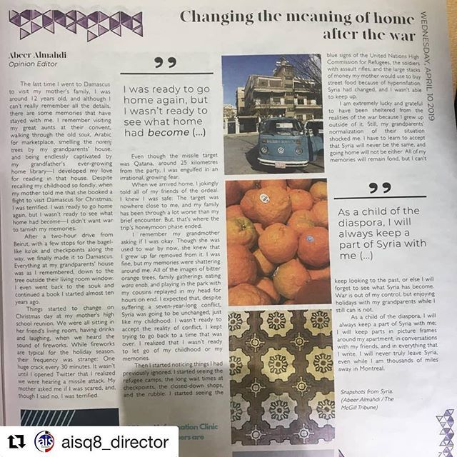 #Repost @aisq8_director ・・・ #aisq8 #aisq8alumni class of 2017 @abeerakm  Abeer AlMahdi's commentary article in the @mcgilltribune On Changing the significance of home after the waronApril 10, 2019 http://bit.ly/2Uy13MD a must read beautiful piec… http://bit.ly/2G62jwA