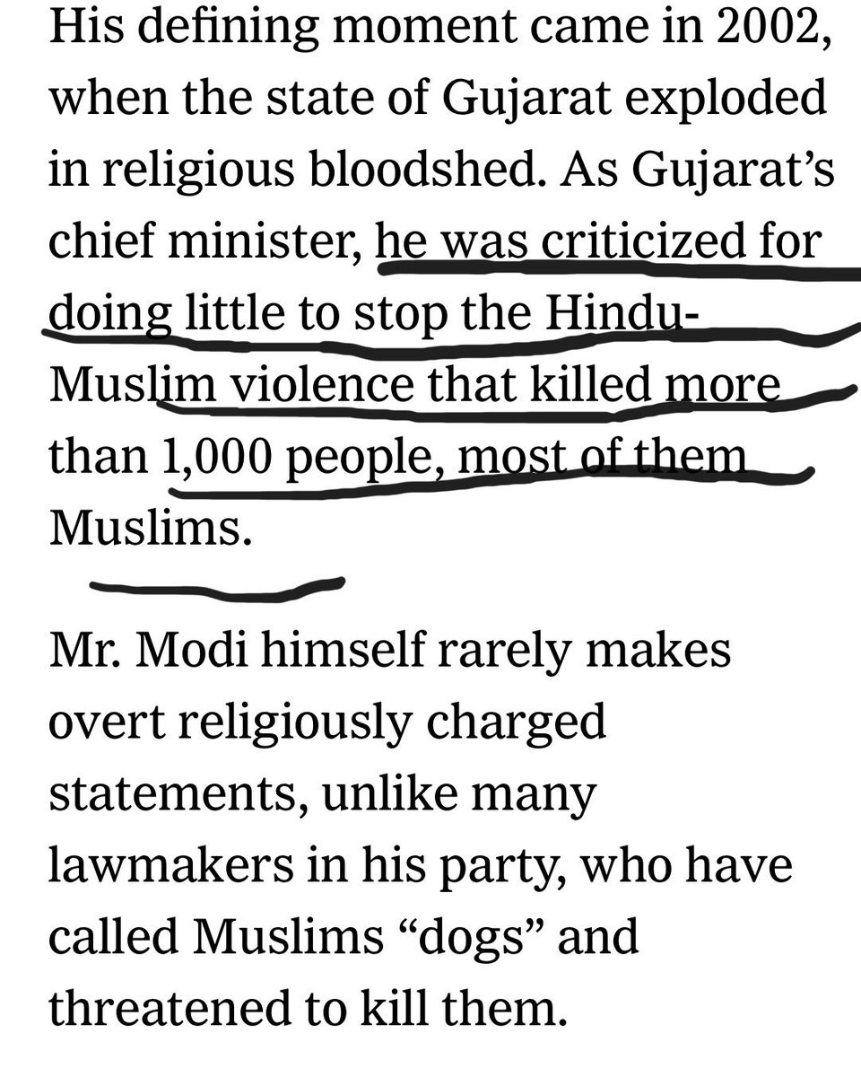 Distortion of history, 1000 Muslim dead bodies lost in count. Today great newspapers of record Financial Times @FT and New York Times @nytimes wrote on status of Muslims in Modi's India. Each mentioned Muslims killings in Gujarat. FT said 2000 NYT said 1000 Muslims were killed