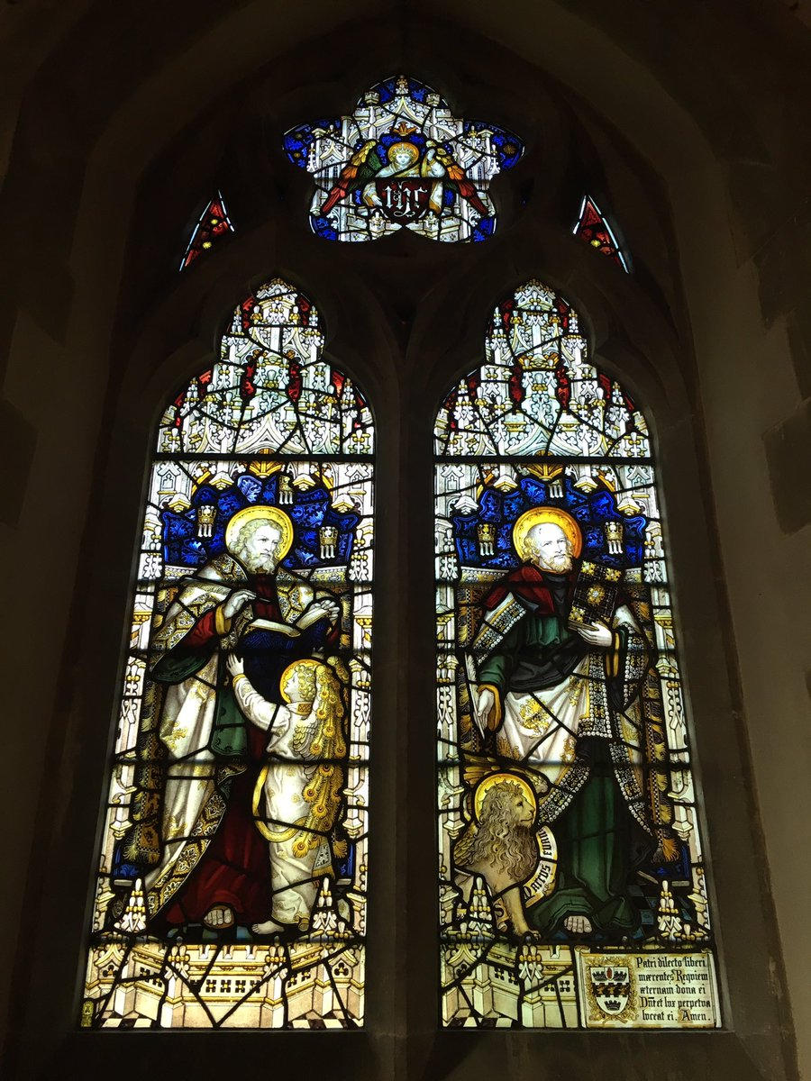 St Nicholas, #Chawton, #Hampshire. Stained glass. First one by C E Kempe &amp; Co. Ltd. Wheatsheaf and tower maker's mark. @InfoKempe<br>http://pic.twitter.com/92u0sIg2EI